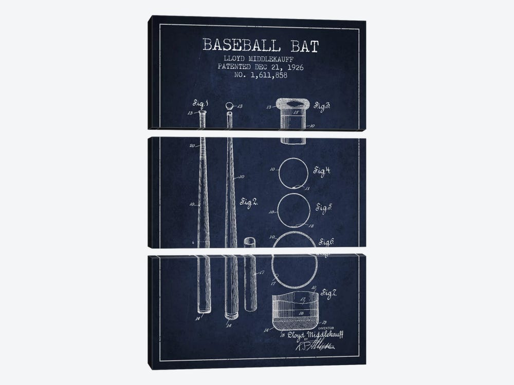 Baseball Bat Navy Blue Patent Blueprint by Aged Pixel 3-piece Art Print