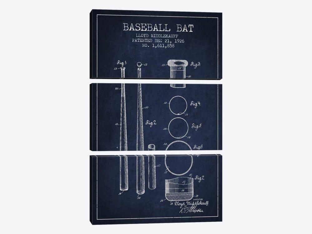 Baseball Bat Navy Blue Patent Blueprint by Aged Pixel 3-piece Art Print