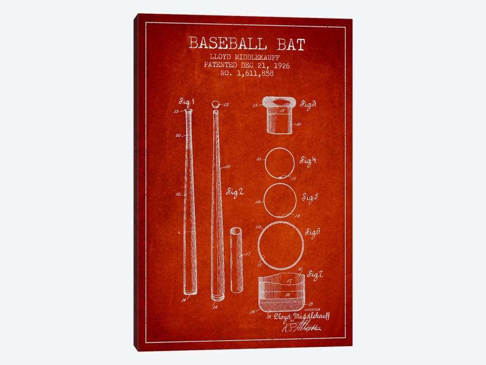 Baseball Bat Red Patent Blueprint by Aged Pixel 1-piece Canvas Artwork