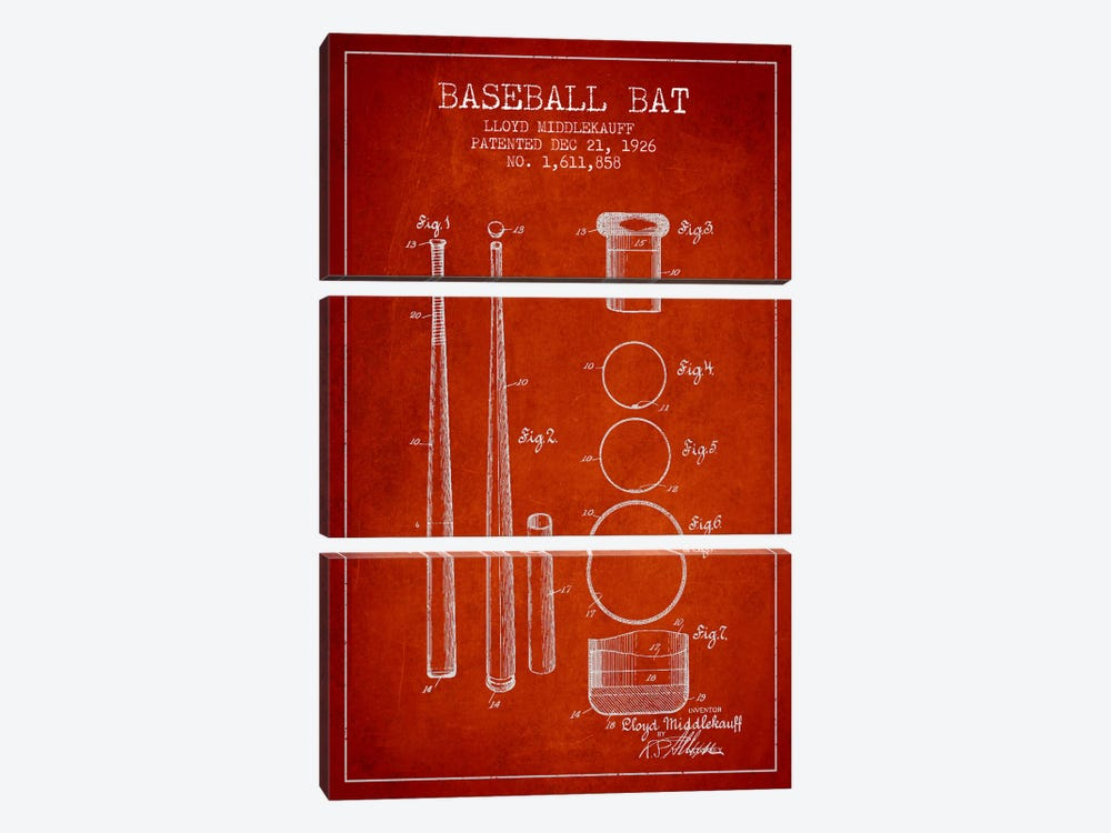 Baseball Bat Red Patent Blueprint by Aged Pixel 3-piece Canvas Art