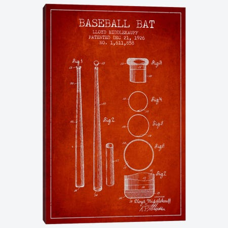 Baseball Bat Red Patent Blueprint Canvas Print #ADP2033} by Aged Pixel Art Print