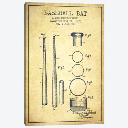 Baseball Bat Vintage Patent Blueprint Canvas Print #ADP2034} by Aged Pixel Canvas Art