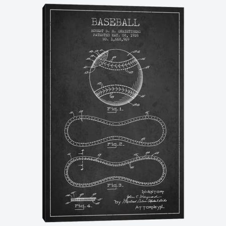 Baseball Charcoal Patent Blueprint Canvas Print #ADP2035} by Aged Pixel Canvas Art