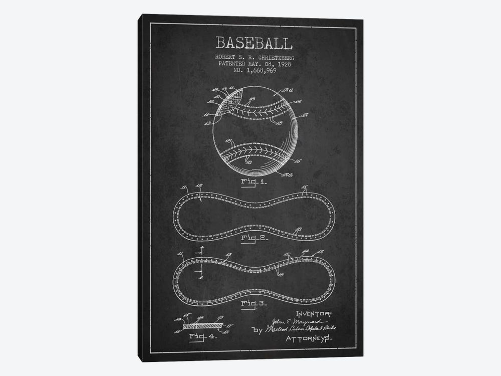 Baseball Charcoal Patent Blueprint by Aged Pixel 1-piece Canvas Artwork