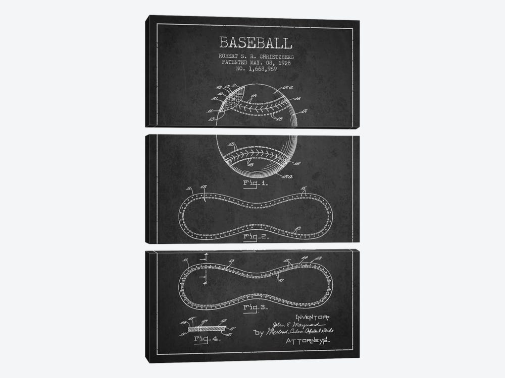 Baseball Charcoal Patent Blueprint by Aged Pixel 3-piece Canvas Art