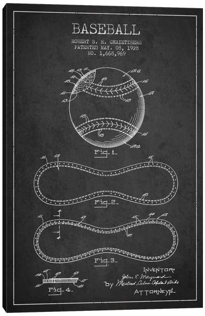 Baseball Charcoal Patent Blueprint Canvas Art Print