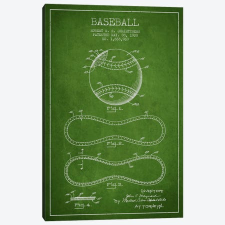 Baseball Green Patent Blueprint Canvas Print #ADP2036} by Aged Pixel Canvas Wall Art