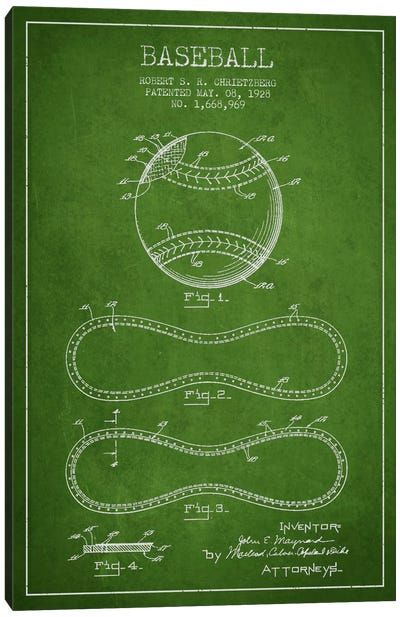 Baseball Green Patent Blueprint Canvas Art Print