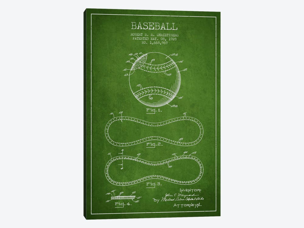 Baseball Green Patent Blueprint 1-piece Canvas Art Print
