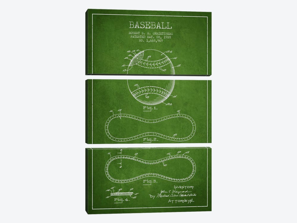 Baseball Green Patent Blueprint by Aged Pixel 3-piece Canvas Print