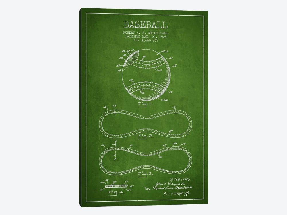 Baseball Green Patent Blueprint by Aged Pixel 1-piece Canvas Art Print