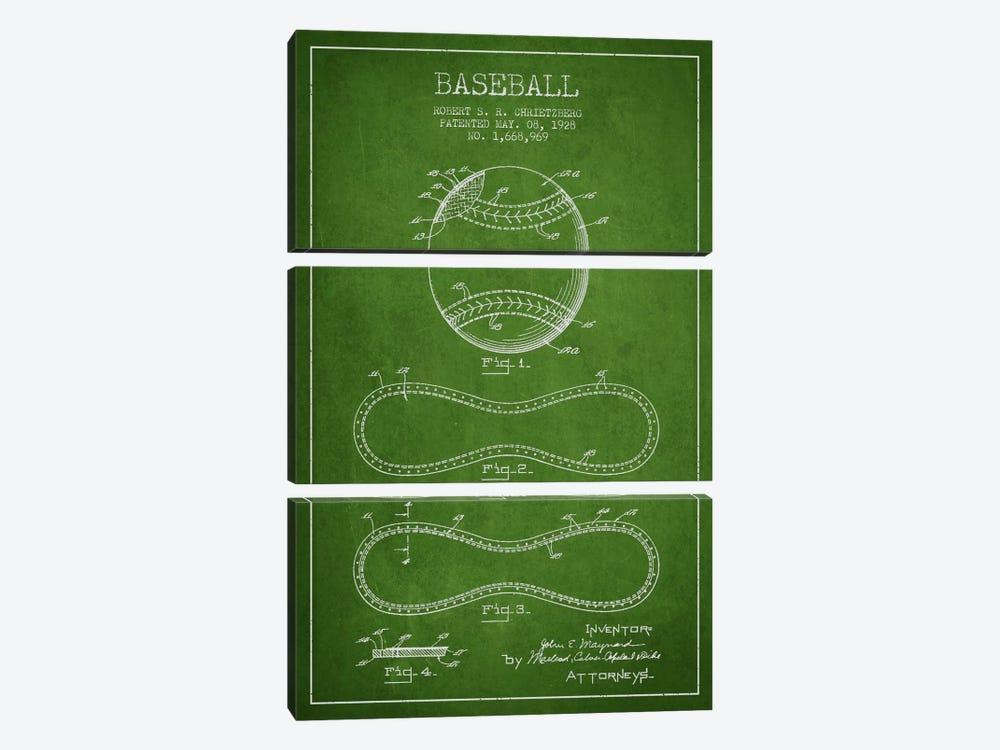 Baseball Green Patent Blueprint by Aged Pixel 3-piece Canvas Print