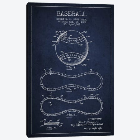 Baseball Navy Blue Patent Blueprint Canvas Print #ADP2037} by Aged Pixel Canvas Artwork