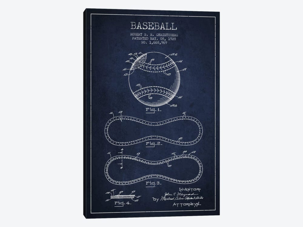 Baseball Navy Blue Patent Blueprint by Aged Pixel 1-piece Canvas Art