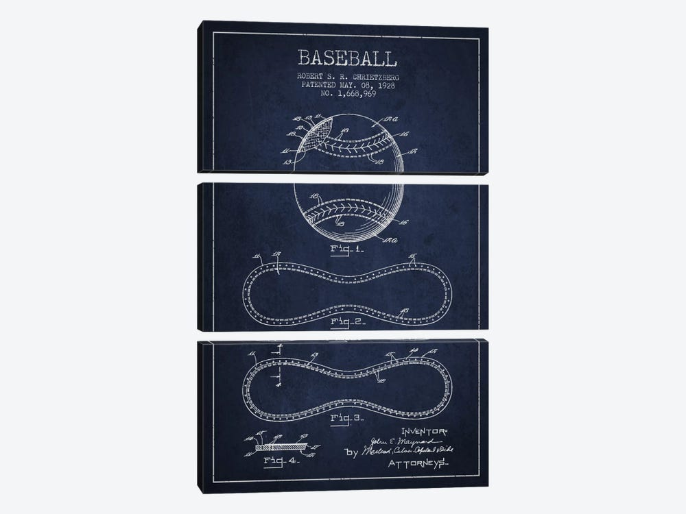 Baseball Navy Blue Patent Blueprint by Aged Pixel 3-piece Canvas Artwork