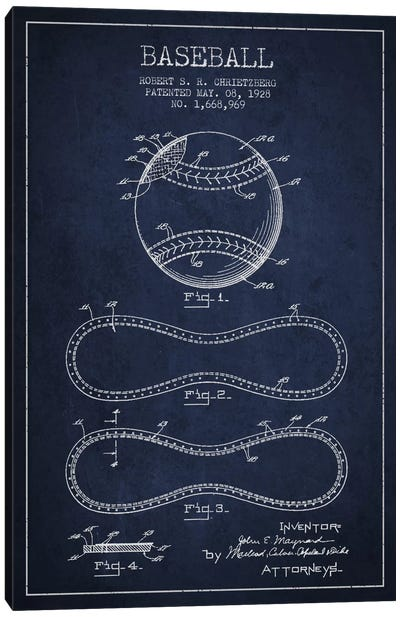 Baseball Navy Blue Patent Blueprint Canvas Art Print