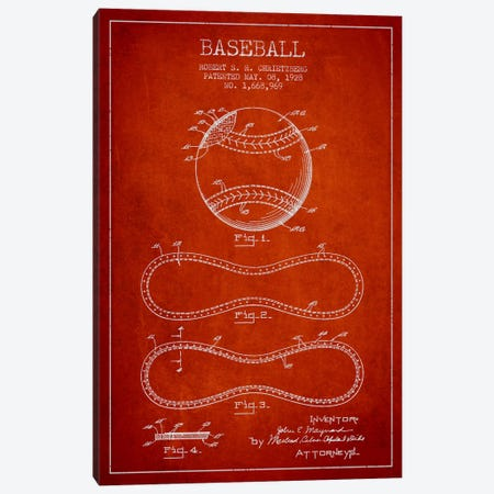 Baseball Red Patent Blueprint Canvas Print #ADP2038} by Aged Pixel Art Print