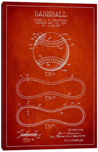 Baseball Red Patent Blueprint Canvas Art Print