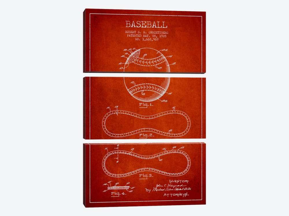 Baseball Red Patent Blueprint by Aged Pixel 3-piece Art Print