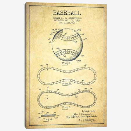 Baseball Vintage Patent Blueprint Canvas Print #ADP2039} by Aged Pixel Canvas Art Print