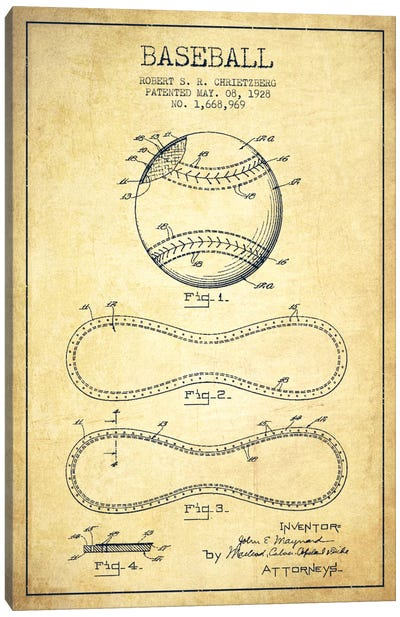 Baseball Vintage Patent Blueprint Canvas Art Print