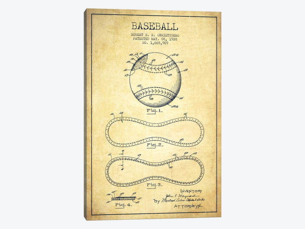 Baseball Vintage Patent Blueprint by Aged Pixel 1-piece Canvas Wall Art