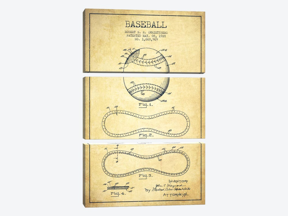 Baseball Vintage Patent Blueprint by Aged Pixel 3-piece Canvas Artwork