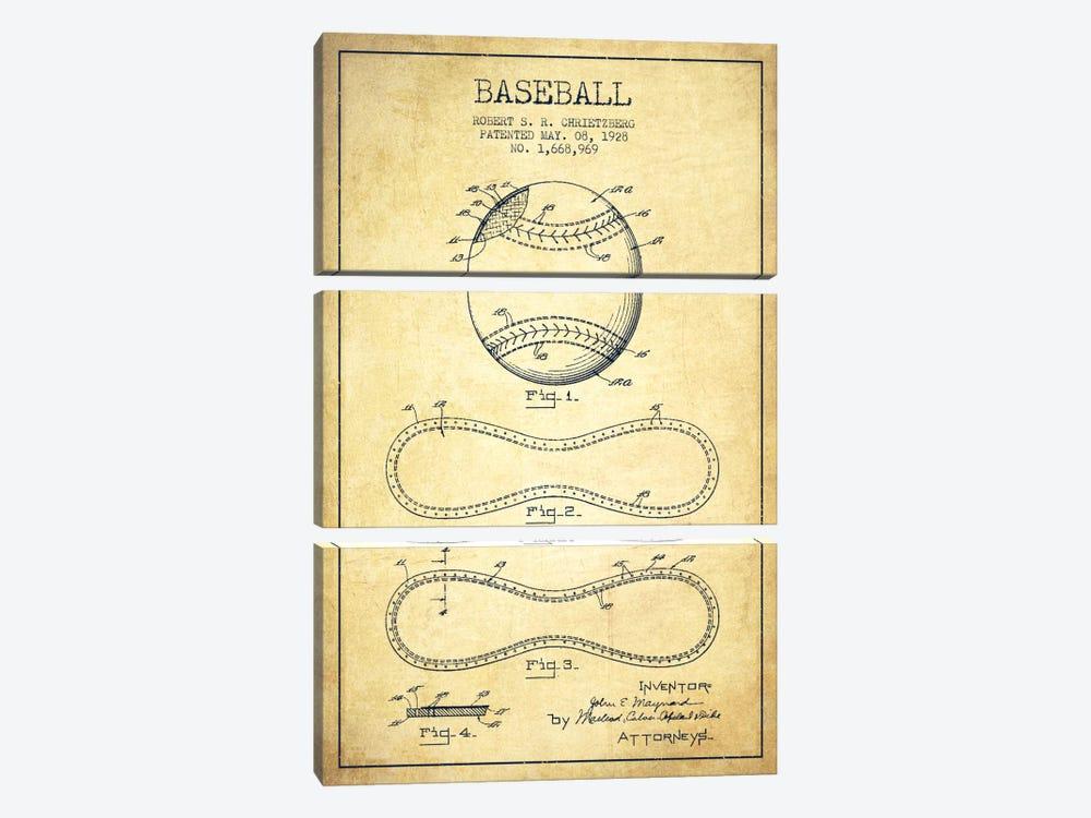Baseball Vintage Patent Blueprint by Aged Pixel 3-piece Canvas Artwork