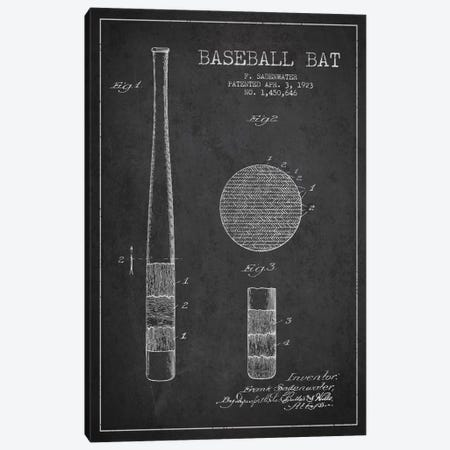 Baseball Bat Charcoal Patent Blueprint Canvas Print #ADP2040} by Aged Pixel Canvas Wall Art