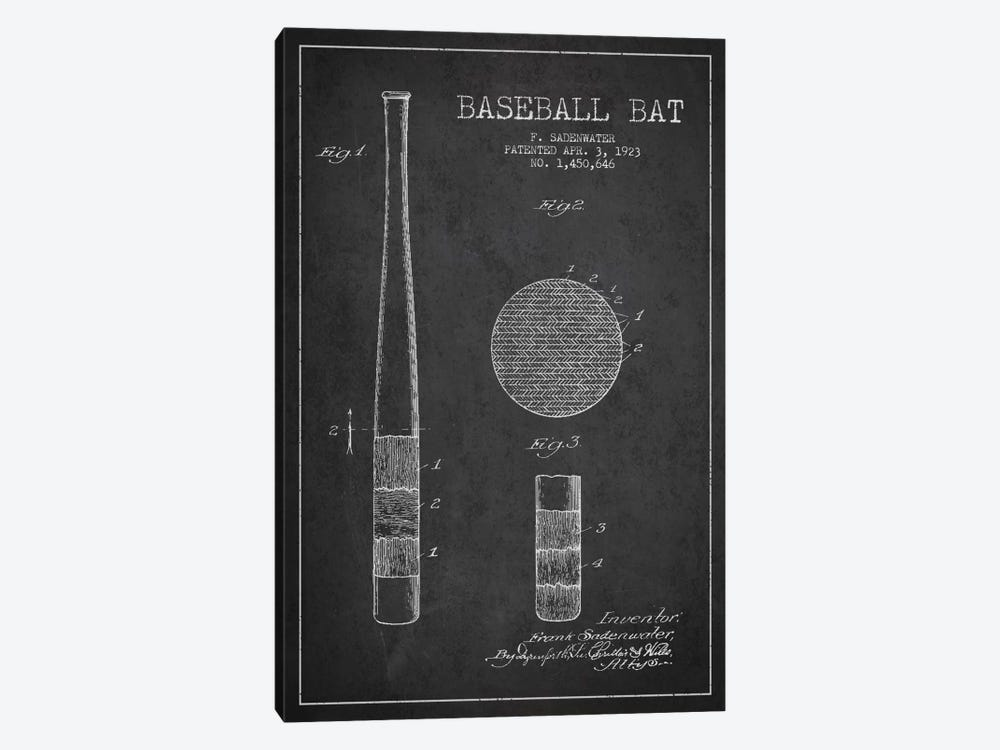 Baseball Bat Charcoal Patent Blueprint by Aged Pixel 1-piece Canvas Artwork