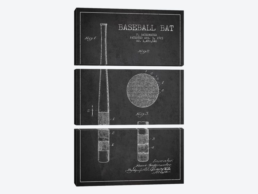 Baseball Bat Charcoal Patent Blueprint by Aged Pixel 3-piece Canvas Art