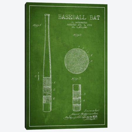 Baseball Bat Green Patent Blueprint Canvas Print #ADP2041} by Aged Pixel Canvas Artwork