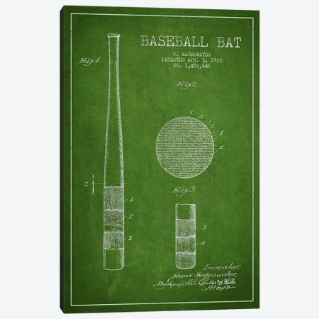 Baseball Bat Green Patent Blueprint Canvas Print #ADP2041} by Aged Pixel Canvas Artwork