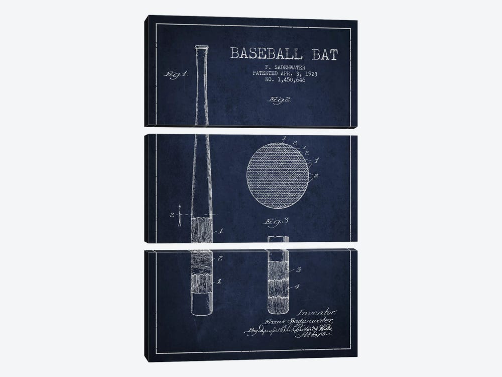 Baseball Bat Navy Blue Patent Blueprint by Aged Pixel 3-piece Canvas Art