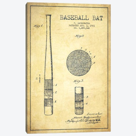 Baseball Bat Vintage Patent Blueprint Canvas Print #ADP2044} by Aged Pixel Canvas Art Print