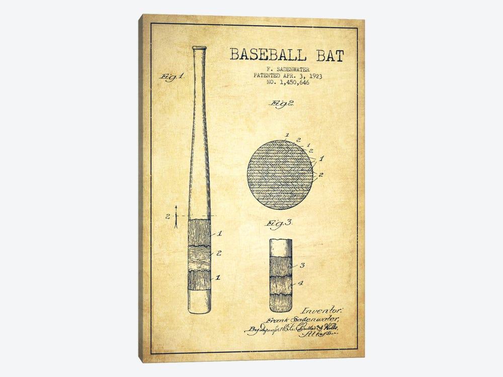 Baseball Bat Vintage Patent Blueprint by Aged Pixel 1-piece Canvas Wall Art