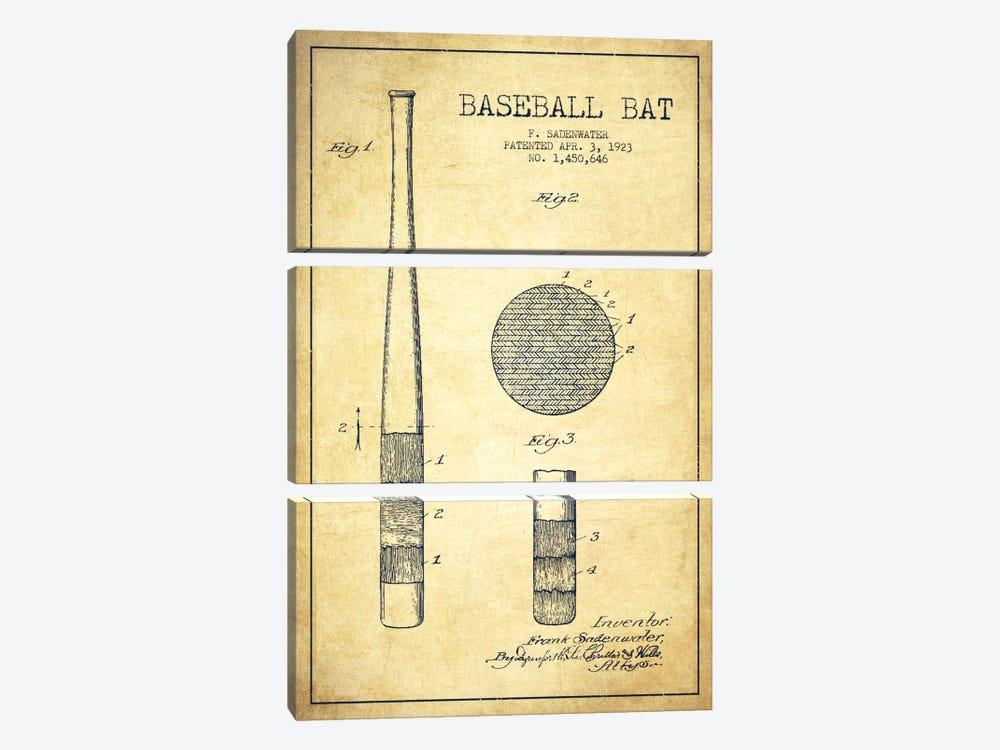 Baseball Bat Vintage Patent Blueprint by Aged Pixel 3-piece Canvas Art