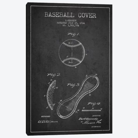 Baseball Cover Charcoal Patent Blueprint Canvas Print #ADP2045} by Aged Pixel Art Print