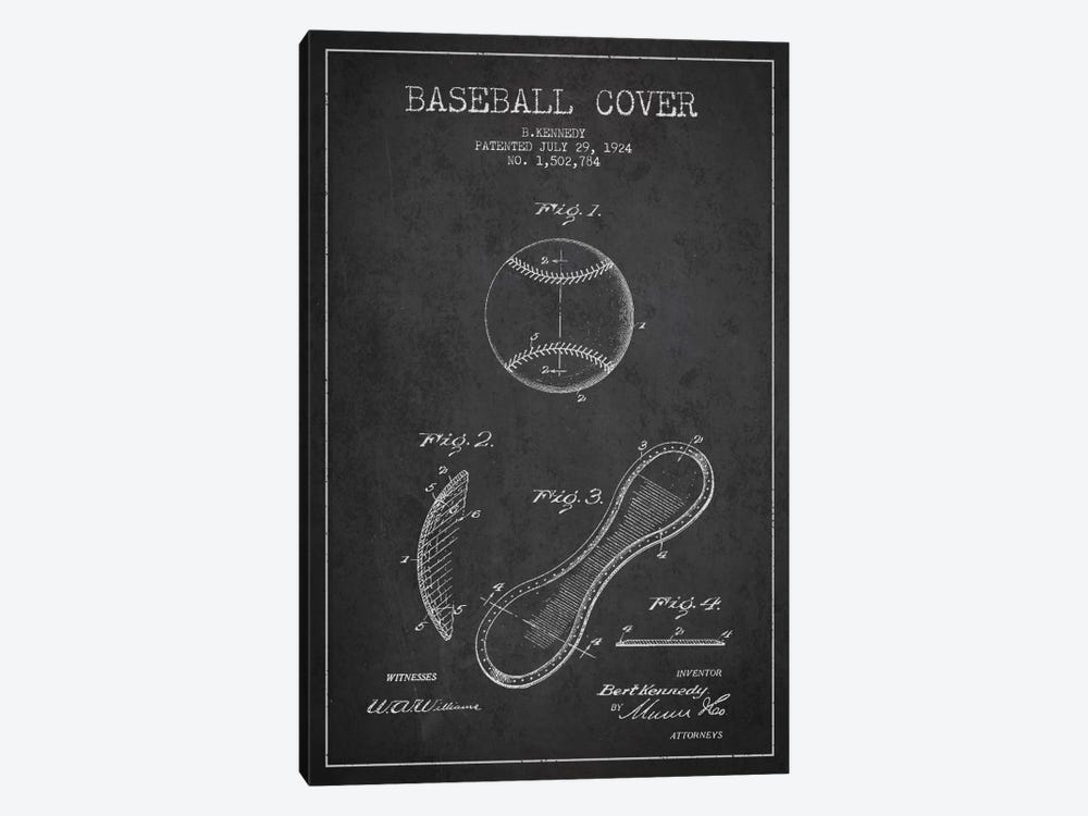Baseball Cover Charcoal Patent Blueprint by Aged Pixel 1-piece Canvas Print