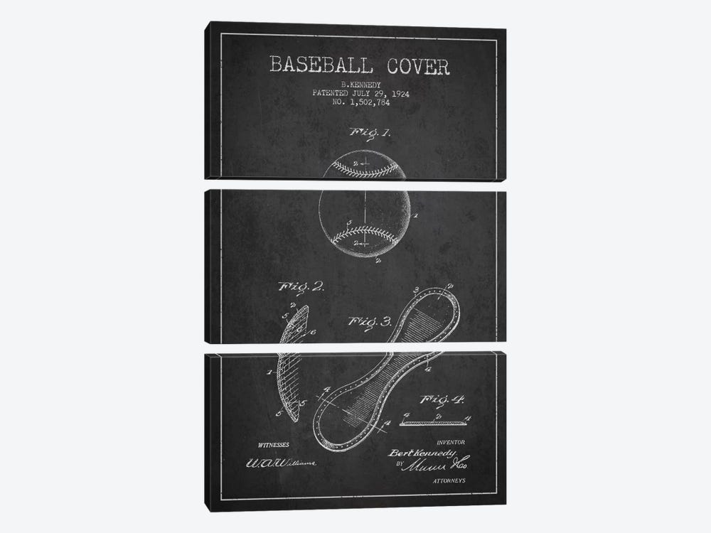 Baseball Cover Charcoal Patent Blueprint by Aged Pixel 3-piece Canvas Print