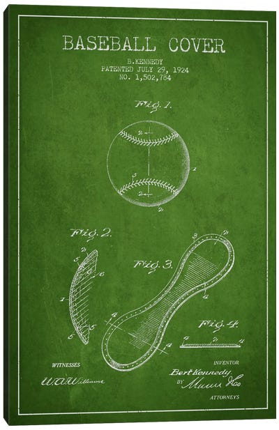 Baseball Cover Green Patent Blueprint Canvas Art Print