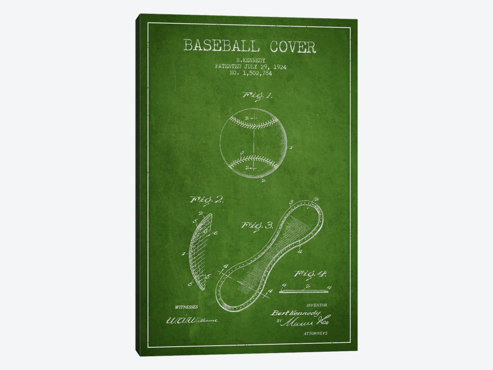 Baseball Cover Green Patent Blueprint by Aged Pixel 1-piece Canvas Artwork