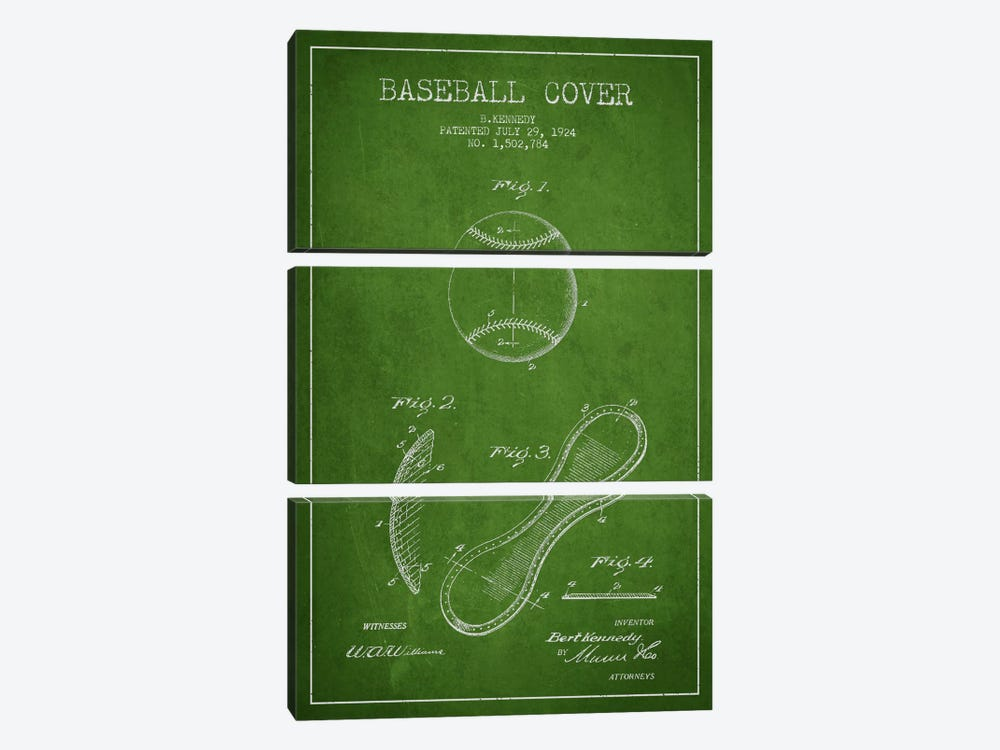 Baseball Cover Green Patent Blueprint by Aged Pixel 3-piece Canvas Art