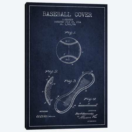 Baseball Cover Navy Blue Patent Blueprint Canvas Print #ADP2047} by Aged Pixel Canvas Print