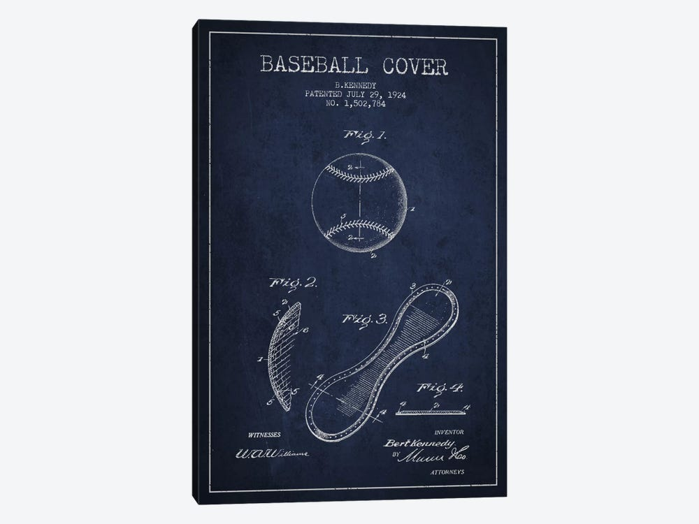Baseball Cover Navy Blue Patent Blueprint by Aged Pixel 1-piece Canvas Print
