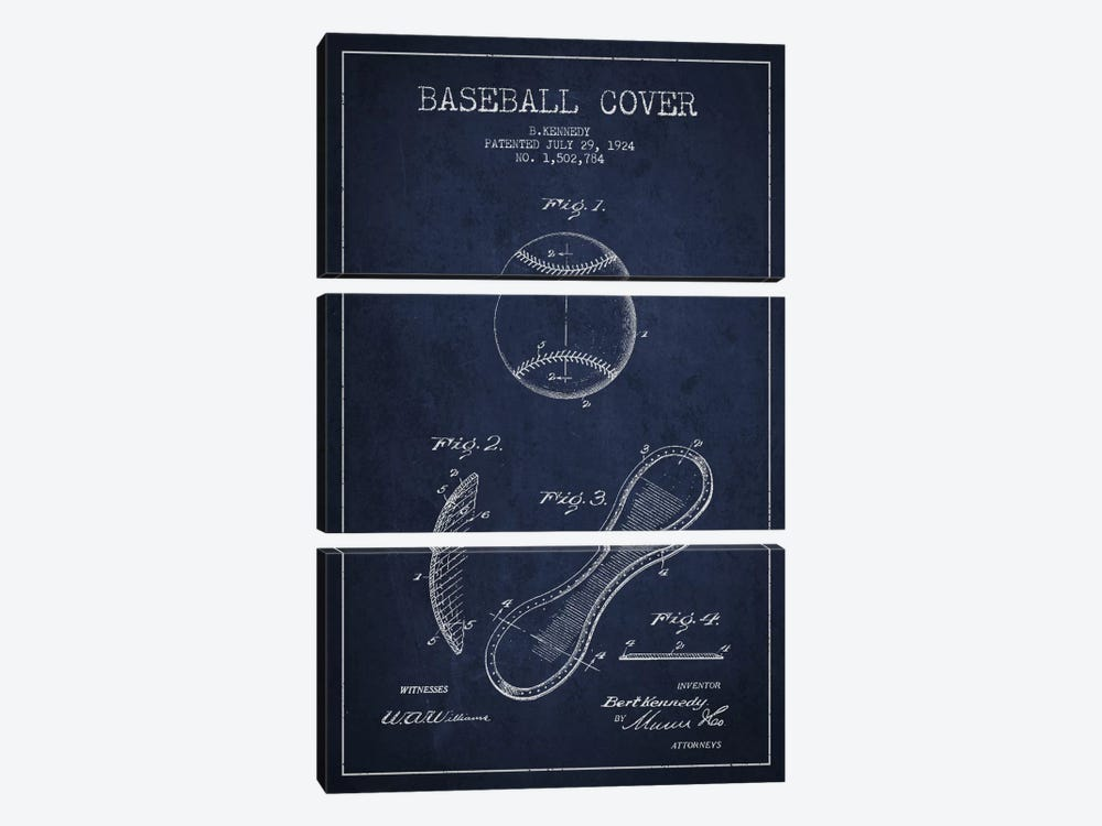 Baseball Cover Navy Blue Patent Blueprint by Aged Pixel 3-piece Art Print