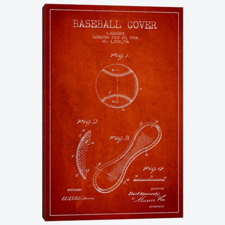 Baseball Cover Red Patent Blueprint Canvas Print #ADP2048} by Aged Pixel Canvas Art