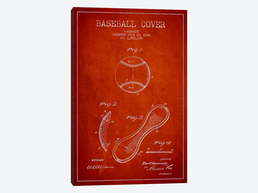 Baseball cover red patent blueprint canvas art print aged pixel baseball cover red patent blueprint by aged pixel 1 piece canvas wall art malvernweather Choice Image