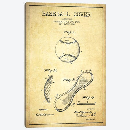 Baseball Cover Vintage Patent Blueprint Canvas Print #ADP2049} by Aged Pixel Canvas Art