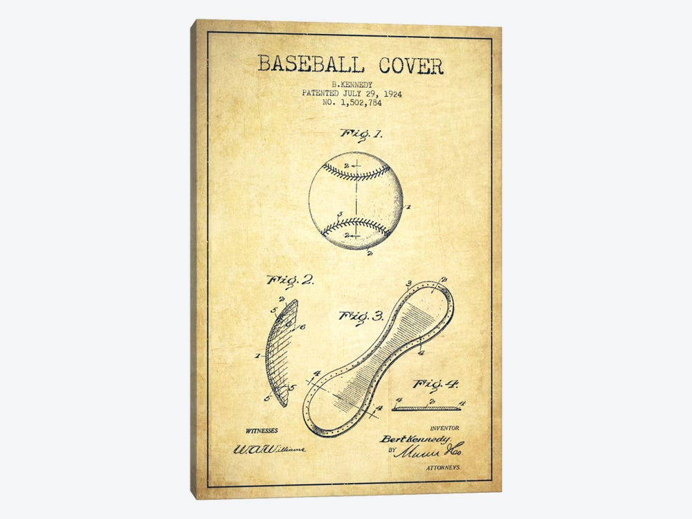 Baseball Cover Vintage Patent Blueprint by Aged Pixel 1-piece Canvas Print